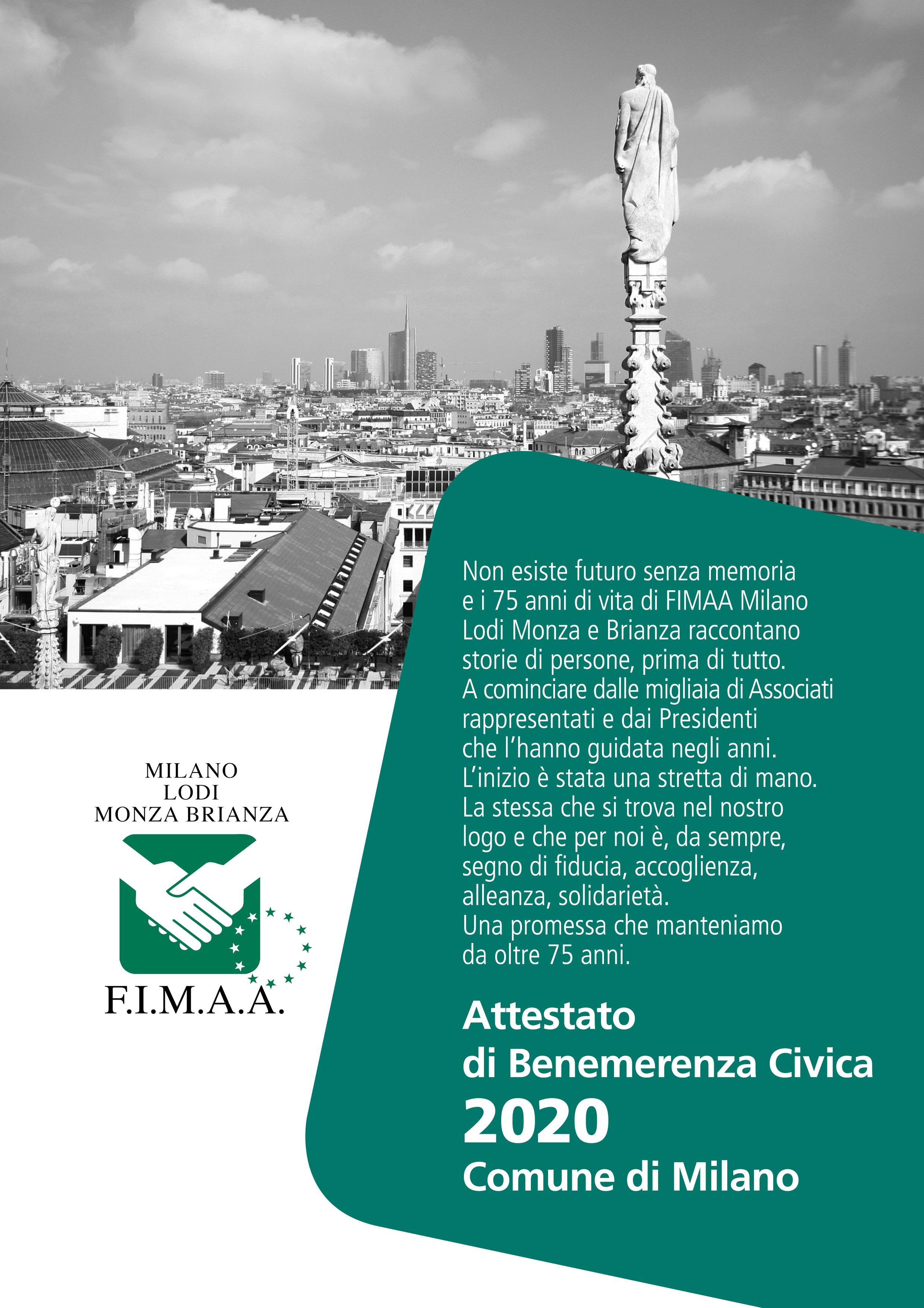 AMBROGINO D'ORO - ATTESTATO DI BENEMERENZA CIVICA 2020